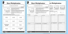 long multiplication practice  digits x  digits  long multiplication year  differentiated short multiplication worksheet pack
