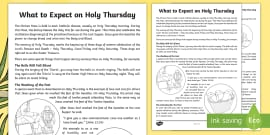 What to Expect on Holy Thursday Worksheet / Worksheets - NI, Easter