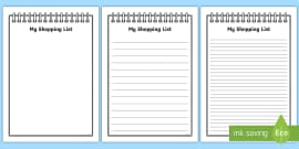 My Shopping List Writing Frames (A4)
