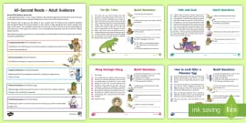 60-Second Reads: Dinosaurs Activity Cards