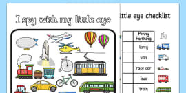 Transport Themed I Spy With My Little Eye Activity