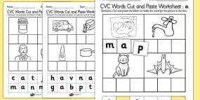 CVC Words Cut and Paste Activity Sheet 'a'