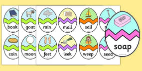 Easter Egg Colouring Sheets Phase 3 CVC Words Matching Activity