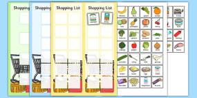 Shopping Lists and Food Cards