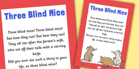 analysis of 3 blind mice Galdone's last work is an expected delight his mice are three-as-one, identifiable only by the colors of their mufflers and clearly small in contrast to the vast open spaces around them and the overs.