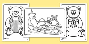teddy bears picnic colouring pages - Teddy Bear Picnic Coloring Pages