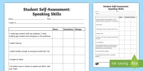 Student Self Assessment: Speaking Skills Activity Sheet