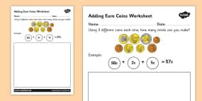 Adding Euro Coins Activity Sheet
