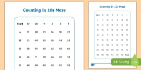 Counting in 10s Maze Activity Sheet