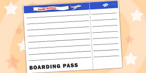 Editable airline boarding pass airport role play pack blank plane ticket template pronofoot35fo Image collections