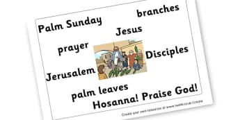 Palm Sunday Word Mat - display lettering - Easter Palm Sunday Primary Resources -  Primary Resources, Easter