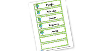 Oceans of the World Word Cards - KS2 Around the World, Geography, Around the World, KS2 Geography