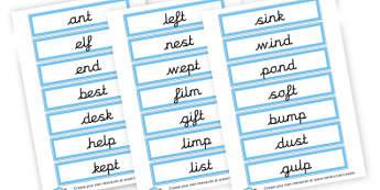 CVCC Words (cursive) - CVC Words Literacy Primary Resources -  Primary Resources, CVC, c