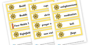Buddhism Vocab Cards - Buddhism, Literacy,  Primary Resources, religion, faith, buddhist