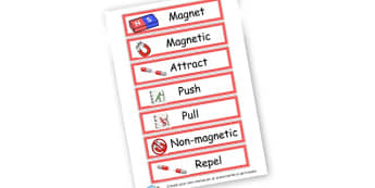 Magnets and Forces Words and Pictures - Forces & Motion Keywords Primary Resources, Magnet, magnets