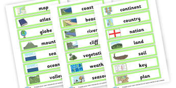 Geography Vocabulary Cards - Geography Keywords Primary Resources, map, city, sights, country