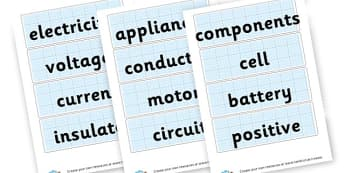 Electricity Vocabulary Cards - Electricity Keywords Primary Resources, electric, safety, power