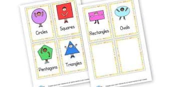 Shape Word Cards - 2D Shapes, Classroom Signs and Labels, 2D Shape Primary Resources