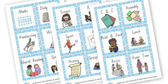 Timetable Cards - Visual Timetables Primary Resources, visual, timetables, routine