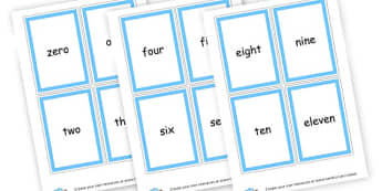 0-20 Numbers and words Cards - Number Digit Cards & Fans Primary Resources, numeracy, flashcards