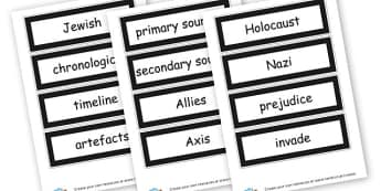 WW2 Vocabulary Cards - World War 2 Primary Resources, history, world war two, Hitler