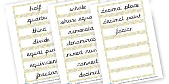 Fractions key words - KS2 Fractions, Percentages, Ratios, Visual Aids, KS2 Maths