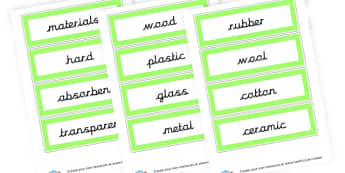 Materials and Prop Vocab Cards - Materials & their Properties Primary Resources, Materials, Solids