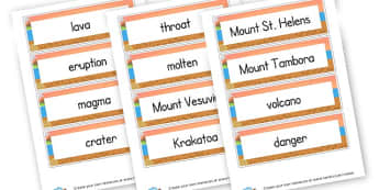 Volcanoes Word Cards - Mountains & Volcanoes Literacy Primary Resources, rock, valley