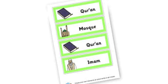 Islam Vocab Cards - KS2 Islam Visual Aids Primary Resources, Religious Education, RE