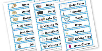 Bakery Labels - Bakery Role Play Primary Resources, baker, bread, oven, buns