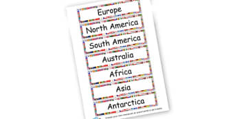 Continent Labels - Countries And Continents The World Primary Resources, places