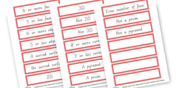 Sorting 2d and 3d Shapes Criteria Cards - 2D Shapes, Literacy, 2D Shape Primary Resources, spaces, measures