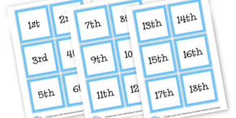 Ordinal numbers - numerals - Ordinal Numbers Primary Resources, ordering, numeracy, activities