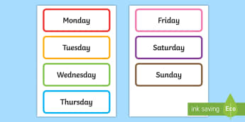 Days of the Week Cards - Display Letters and Words Primary Resources, Display, Letters