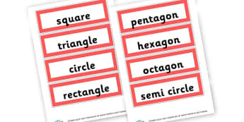2D shape labels - 2D Shapes, Classroom Signs and Labels, 2D Shape Primary Resources