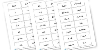 100 HFW cards pre cursive - display lettering - High Frequency Words Visual Aids Primary Resources, letters, frquency