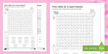 Valentine's Day Middle Ability Differentiated Word Search - Valentine's Day, French, 14th February, Saint Valentin, mots mêlés, soupe de mots, word search,Fr