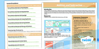 PlanIt Maths Y5 Addition and Subtraction Overview