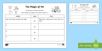 The Magic of Yet Three Goals Activity Sheet - Growth Mindset, Power Of Yet, Brain, Positive, Goals, Achievement, learning process