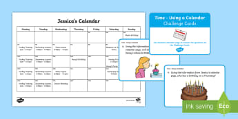 CfE 1st Level Using a Calendar Challenge Cards - CfE Numeracy and Mathematics, number, time, calendar, using a calendar, months of the year, challeng