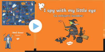 Halloween I Spy Activity Sheet and PowerPoint Pack English/Romanian - halloween, I spy, observation, concentration, attention