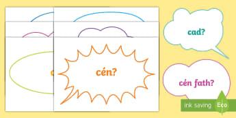 Question Words on Speech Bubbles Gaeilge - Question words on speech bubbles gaeilge, foclaí ceisteanna, gaeilge, Irish