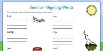 Summer Rhyming Words Worksheet - ESL Rhyming Worksheet