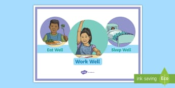 Eat Well, Sleep Well, Work Well A4 Display Poster - motivation, health, well being, emotions, young people