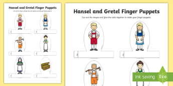 Hansel and Gretel Finger Puppets - finger puppets, hansel, gretel