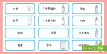 容量词汇卡片 - 容量词汇,满的,空的,半满的,半空的,展示