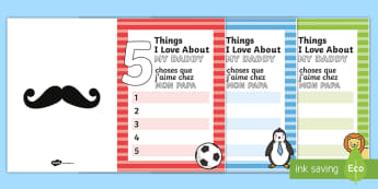 5 Things I Love About Dad Father's Day Card Template English/French - 5 Things I Love About Dad Fathers Day Card Template - fathers day, tempelte, templet, EAL, English/F