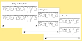 Washing Line Missing Number To 10 Activity Sheet - New Zealand, maths, missing numbers, number ordering, number recognition, numbers to 10, Year 1, age