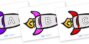 A-Z Alphabet on Rockets (Multicolour) - A-Z, A4, display, Alphabet frieze, Display letters, Letter posters, A-Z letters, Alphabet flashcards