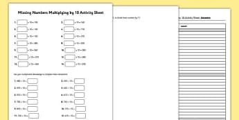 Grade 3 Multiplying by 10 Missing Numbers Activity Sheet - grade 3, multiplying, 10, missing, worksheet